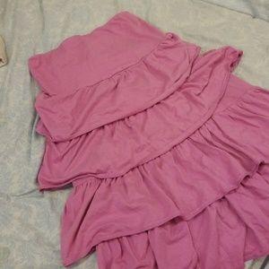 Pink tiered purple/pink strapless dress